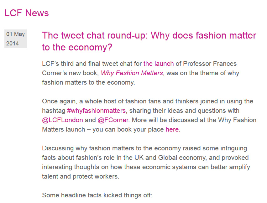 Why Fashion Matters, London College of Fashion